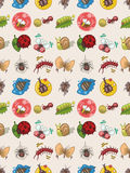 Seamless bug pattern. Cartoon vector illustration Royalty Free Stock Photo