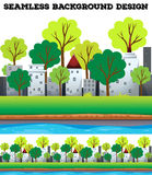 Seamless buildings and trees along the river Stock Photo