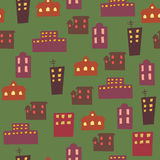 Seamless buildings wallpaper. Cartoon buildings on a dark background Royalty Free Stock Photography