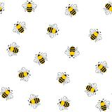 Seamless of bumble bees on white. Seamless of bumble bee illustration design on white background vector illustration