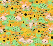 Seamless bunny background for kids. Bunnies carrots sunflowers garden orange seamless pattern. Cute Springtime rabbit pattern. vector illustration