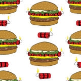 Seamless burgers with dynamite Stock Photography