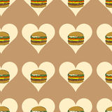 Seamless burgers in hearts Stock Image
