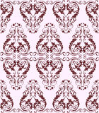 Seamless burgundy damask pattern on a light background Stock Photos