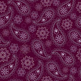 Seamless burgundy geometric pattern with paisley and flowers. Vector print . Stock Photography
