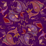 Seamless burgundy pattern with paisley and butterflies. Vector print square. Royalty Free Stock Photos
