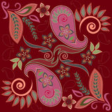 Seamless burgundy pattern with paisley and flowers. Vector print square. Traditional classy ornamental ethnic pattern vector illustration