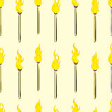 Seamless burning matchsticks Stock Photo