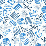 Seamless business charts, financial graphs pattern. Blue business charts and financial graphs seamless pattern over white background with pie and radar charts Stock Image