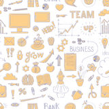 Seamless business doodle pattern. With graph, arrows, cloud, text and other design elements in two colors Stock Images