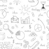 Seamless business icon background. Seamless background set of business icons drawn by hand with financial doodle sketch elements. Vector illustration Royalty Free Stock Photo