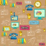 Seamless business office supplies pattern Stock Photography