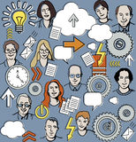 Seamless business pattern with people and icons. Stock Photography
