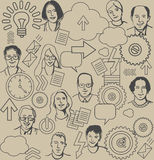 Seamless business pattern with people and icons on Royalty Free Stock Photos