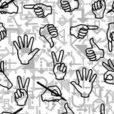 Seamless business sign pattern. Seamless vector pattern with hand gestures and arrow signs Royalty Free Stock Photo