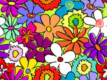 Seamless busy flower pattern 2. Fun, retro seamless hand drawn flower pattern Royalty Free Stock Photo