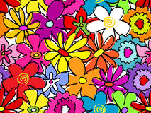 Seamless busy flower pattern. Fun, retro seamless hand drawn flower pattern Stock Images