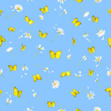 Seamless butteflies and daisies. Repeatable background of 22 different daisies and yellow butterflies from 14 different angles, all studio photographed and Royalty Free Stock Photography
