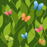 Seamless butterflies background. Seamless background with butterflies and leaves Royalty Free Stock Photos