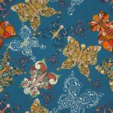 Seamless butterflies pattern Royalty Free Stock Photos