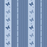 Seamless  with butterflies pattern retro striped background Royalty Free Stock Photography