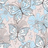 Seamless butterfly background stock illustration