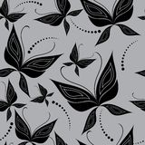 Seamless Butterfly background. Seamless grey background with butterfly stock illustration