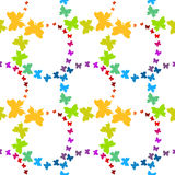 Seamless butterfly circles pattern. Rainbow colours butterflies pattern flying in circles. Seamless tile Stock Photography
