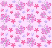 Seamless butterfly and flower pattern Royalty Free Stock Images