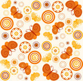 Seamless butterfly and flower pattern Stock Image