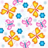 Seamless butterfly and flowers pattern Royalty Free Stock Photos