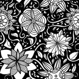 Seamless bw flowers pattern Royalty Free Stock Images