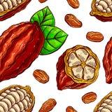 Seamless cacao beans Stock Photos