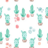 Seamless cactus in pot pattern background Royalty Free Stock Photography