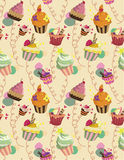 Seamless cake pattern. Vector illustration Stock Images