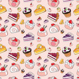 Seamless cake pattern. Vector illustration Royalty Free Stock Photos