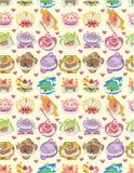 Seamless cake pattern. Drawing Stock Photography