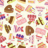 Seamless cake pattern. Vector drawing Royalty Free Stock Photography