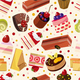 Seamless cake pattern. Drawing Stock Photos