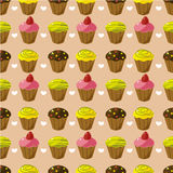 Seamless cake pattern. Vector drawing Stock Photography