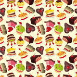 Seamless cake pattern. Vector drawing Stock Image