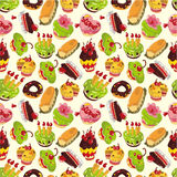 Seamless cake pattern. Illustration Royalty Free Stock Images