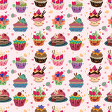 Seamless cake pattern. Vector,illustration Stock Photos