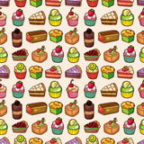 Seamless cake pattern. Vector,illustration Stock Photography