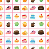Seamless cake pattern. Cartoon vector illustration Stock Photos