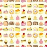 Seamless cake pattern. Cartoon vector illustration Royalty Free Stock Photography
