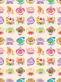 Seamless cake pattern. Cartoon vector illustration Stock Image
