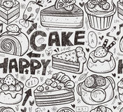 Seamless cake pattern. Cartoon vector illustration Royalty Free Stock Image