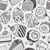 Seamless cake pattern. Cartoon vector illustration Stock Photo