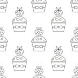 Seamless cake pattern  on White background. Stock Photography
